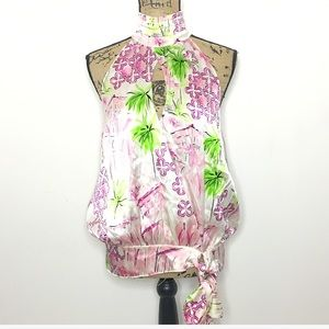 Lilly Pulitzer Floral Tropical Silk Halter Top